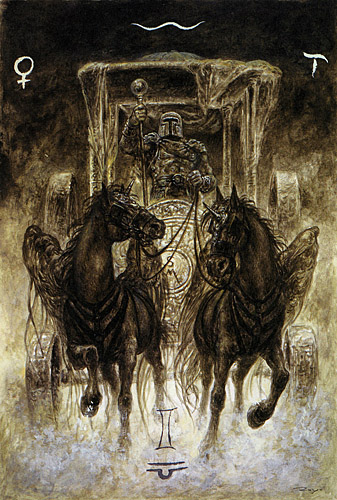 luis royo_the labyrinth tarot_major arcana_the chariot_med